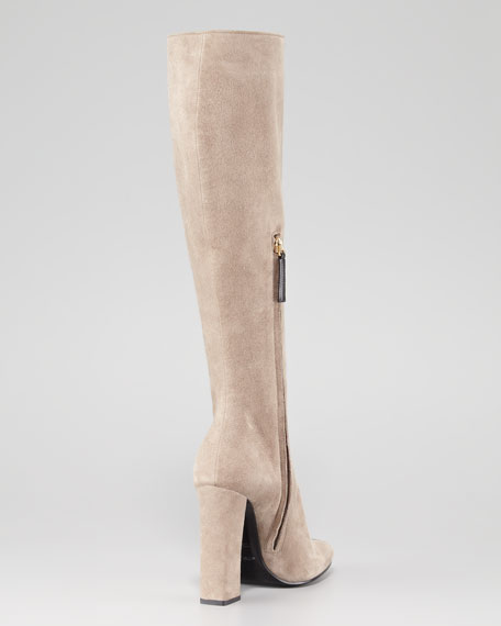 Mixed-Media Stripe Tall Boot