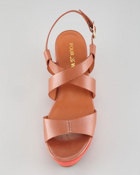 Noelle Colorblock Platform Sandal, Cognac