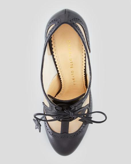 Astaire Mesh Platform Oxford Bootie, Black