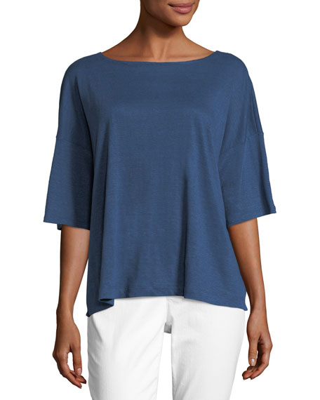 Short-Sleeve Linen Boxy Top