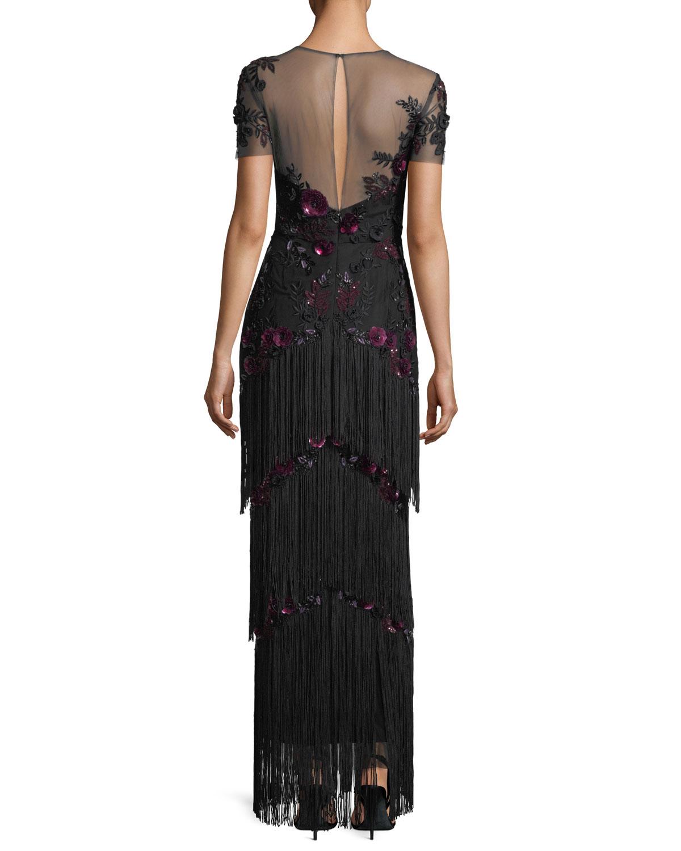 Marchesa Notte Short-Sleeve Illusion Fringe Column Gown | Neiman Marcus