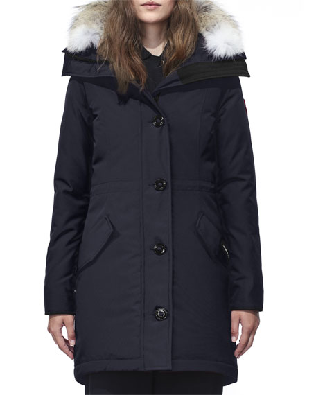 Image 1 of 6: Rossclair Fur-Trim Hooded Down Parka