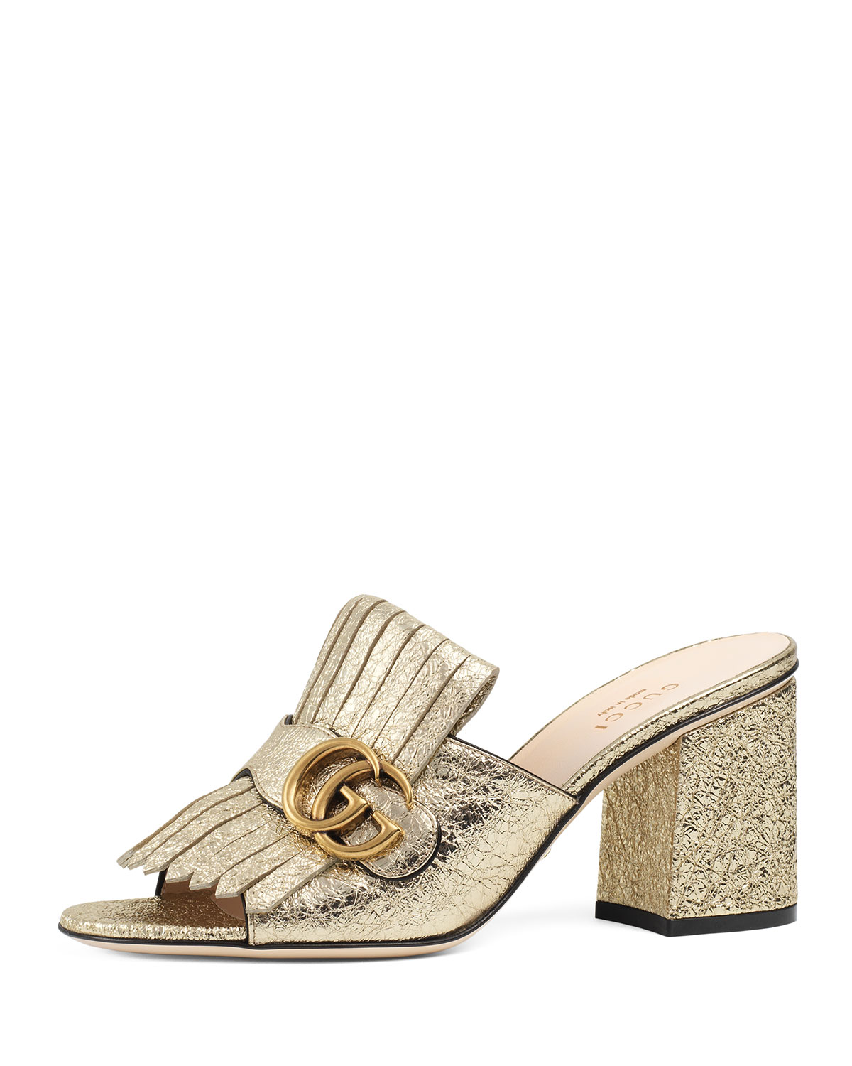 8b75590ee77 Gucci Marmont Metallic Leather 75mm Mule