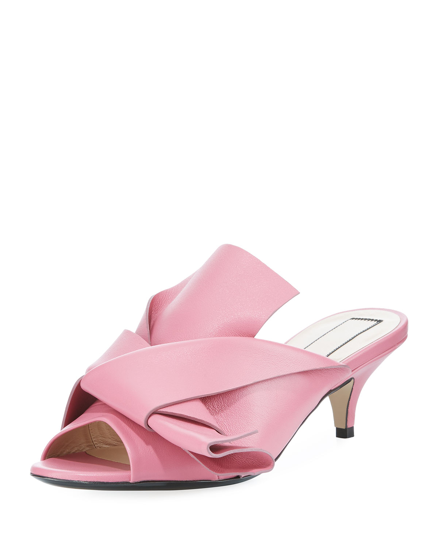 e48e88cf082 No. 21 Pleated Leather Low-Heel Slide Sandal