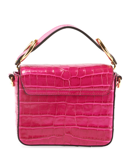Image 3 of 4: C Mini Croc-Embossed Calfskin Crossbody Bag