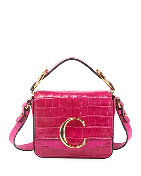 Image 1 of 4: C Mini Croc-Embossed Calfskin Crossbody Bag