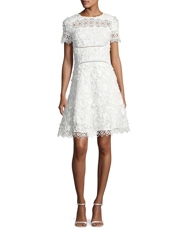 5baa622950e8 Elie Tahari Adina Short-Sleeve Floral Applique & Lace Dress | Neiman ...