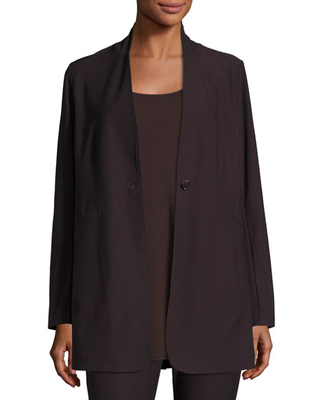 Eileen Fisher Stretch Crepe Stand Collar Long Jacket