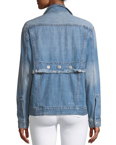 Distressed Denim Trucker Jacket with Snap-Off Hem