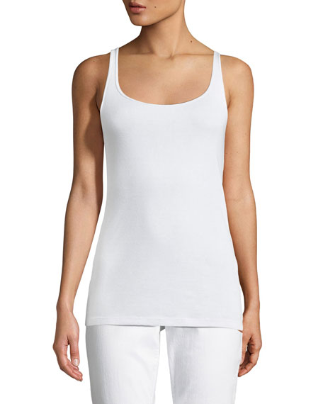 Eileen Fisher Deep-V Box Organic Linen Top &