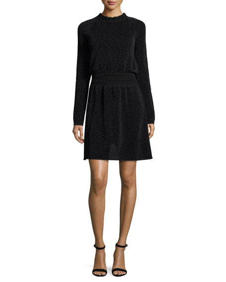 Tory Burch Isabelle Long Sleeve Metallic Fit Amp Flare Dress