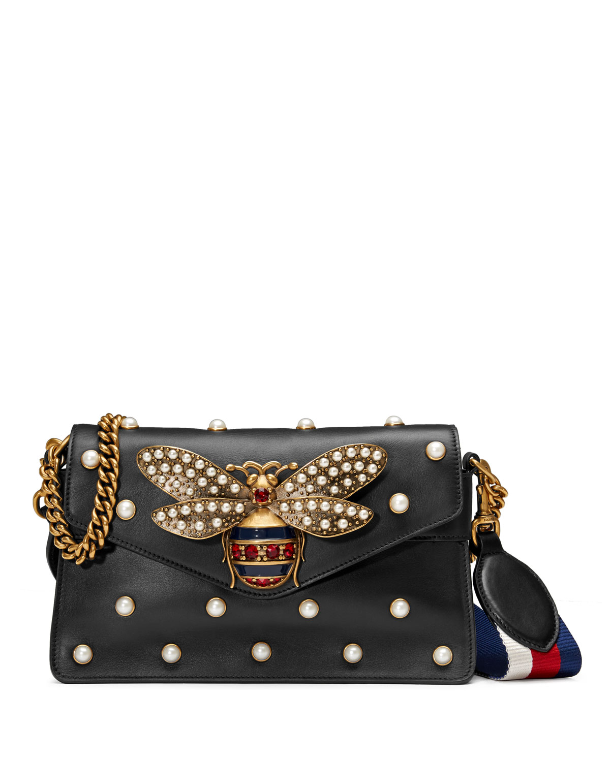25dfc44a4b3c Gucci Broadway Pearly Bee Shoulder Bag | Neiman Marcus