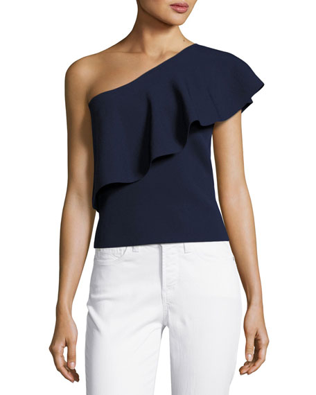 Image 1 of 4: One-Shoulder Flounce Top