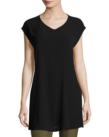 Eileen Fisher V-Neck Silk Georgette Crepe Tunic w/