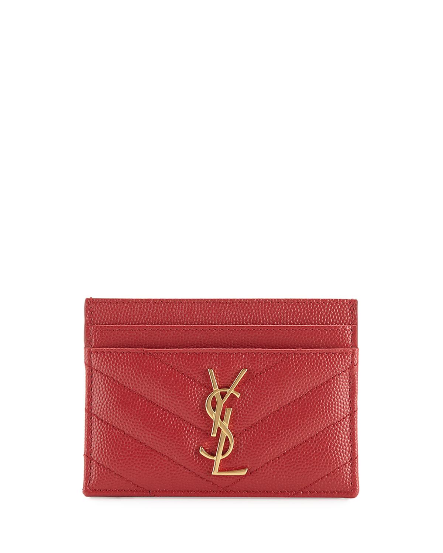 82eb277712909 Saint Laurent Monogram YSL Matelasse Leather Card Case