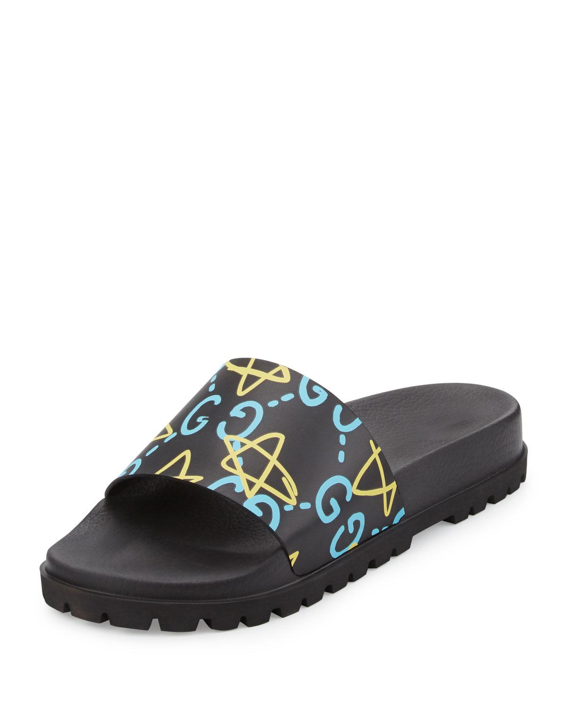 1ba0cfa7da0 Gucci Pursuit GucciGhost Leather Sandal