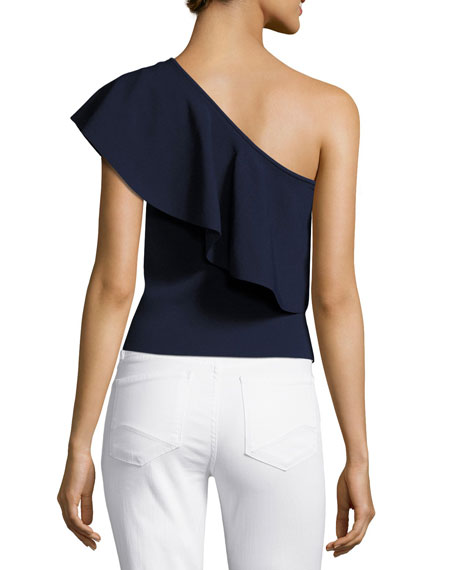 Image 3 of 4: One-Shoulder Flounce Top