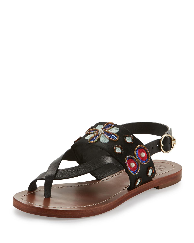 9bdba0dfe88ae1 Tory Burch Estella Embellished Flat Sandal