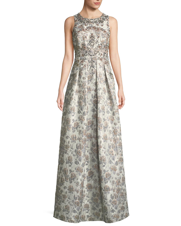 Aidan Mattox Sleeveless Metallic Brocade Embellished Evening Gown