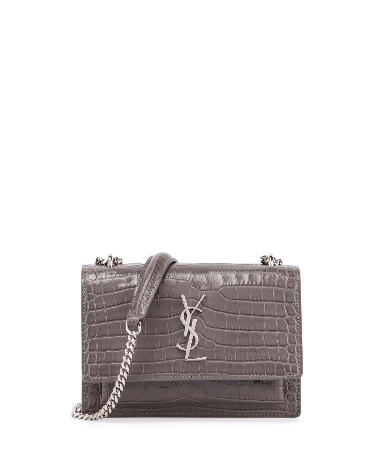 e7fce1f7b0f Saint Laurent Sunset Monogram Small Crocodile-Embossed Wallet on a Chain