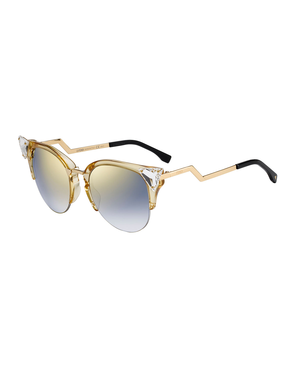 89cd67524570c Fendi Iridia Cat-Eye Crystal-Tip Sunglasses
