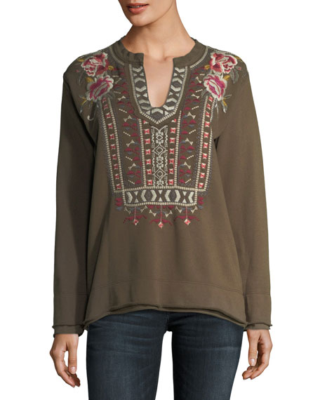Johnny Was Petite Issoria Embroidered French Terry Sweatshirt