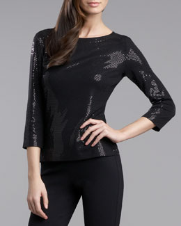 St. John Collection Sequined Top