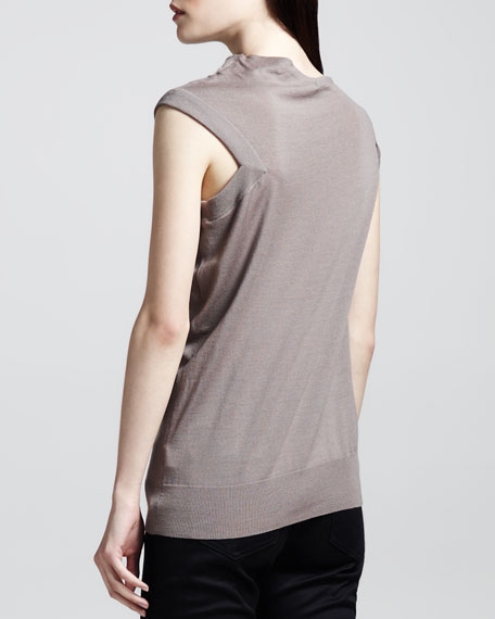 Asymmetric Draped Wool Top