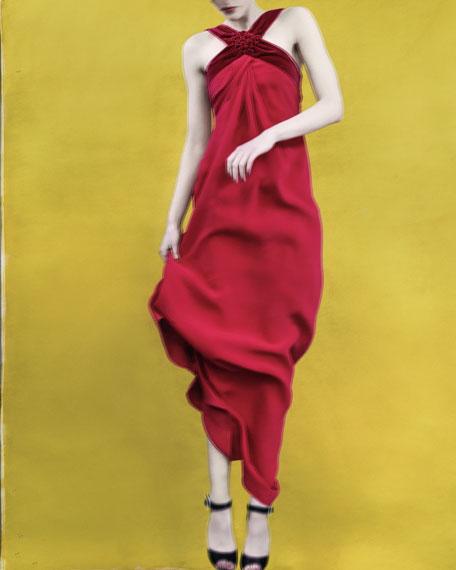 Cross-Neck Silk Halter Gown
