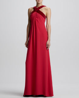 Carolina Herrera Cross-Neck Silk Empire-Waist Halter Gown