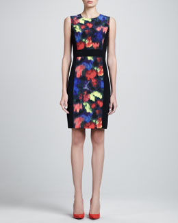 St. John Collection Stretch-Side Floral-Print Dress, Caviar/Multi