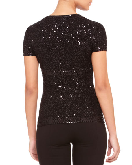 Sequined Shrug Top, Black