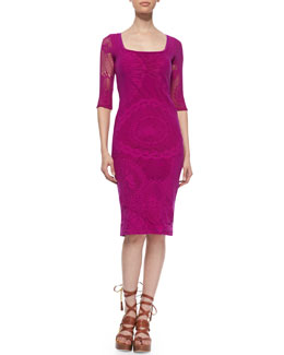 Jean Paul Gaultier 3/4-Sleeve Lace Sheath Dress, Magenta