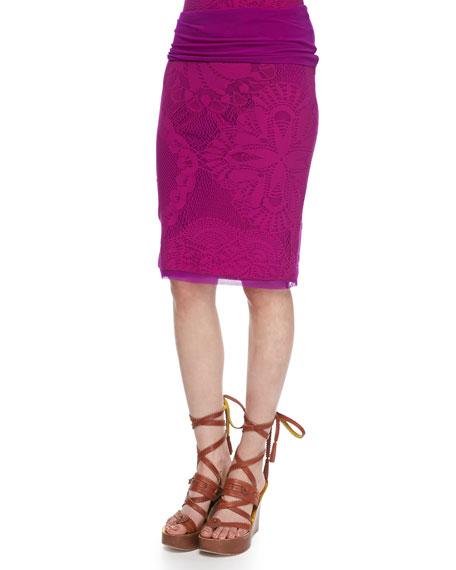 Jean Paul Gaultier Lace & Crochet Tulle-Trim Skirt