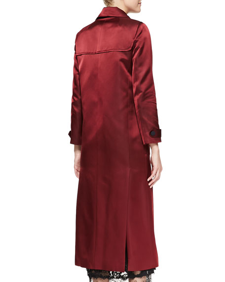 Sateen Duffle Coat with Toggle Front, Oxblood