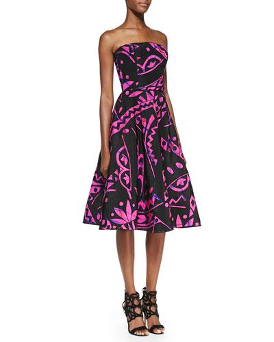 Oscar de la Renta Strapless Geo-Print Flare Dress