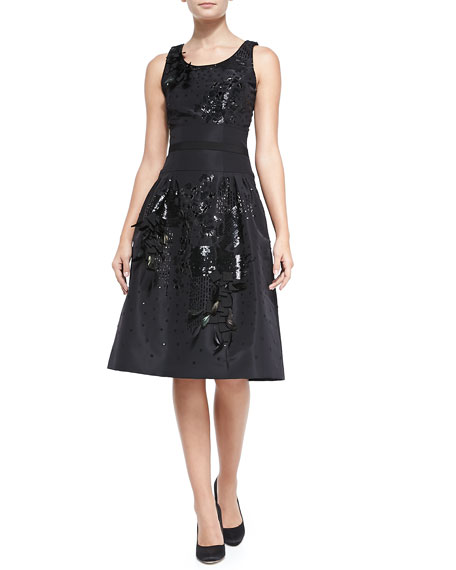 Carolina Herrera Beaded Embroidered Cocktail Dress