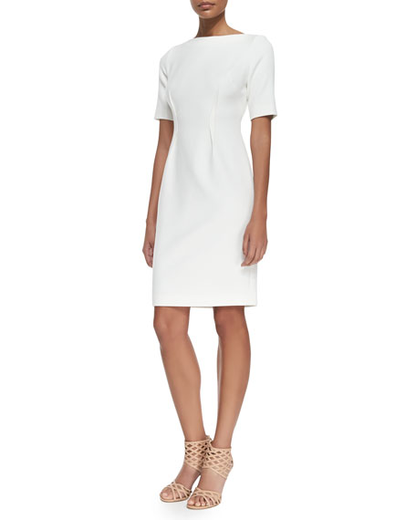 Lela Rose Claire Boat-Neck Dress, Ivory