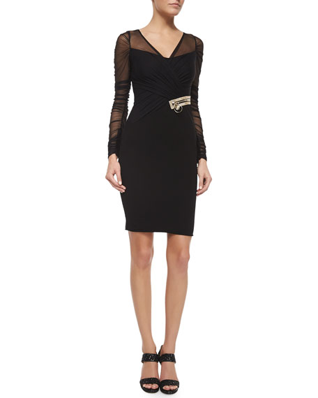 Versace Draped Illusion Overlay Crystal-Embellished Dress, Black