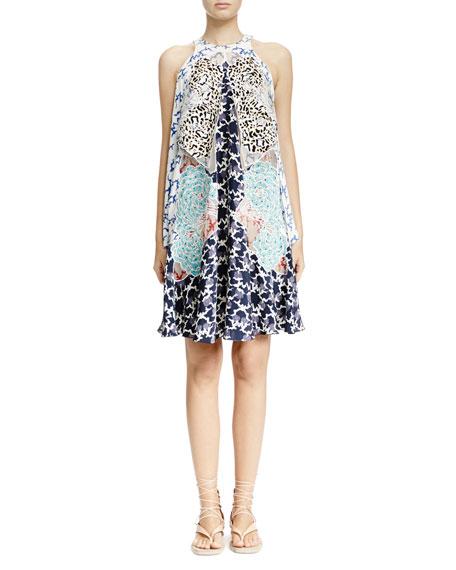 Stella McCartney Cloud-Embroidered Multilayered Halter Dress, White Multi