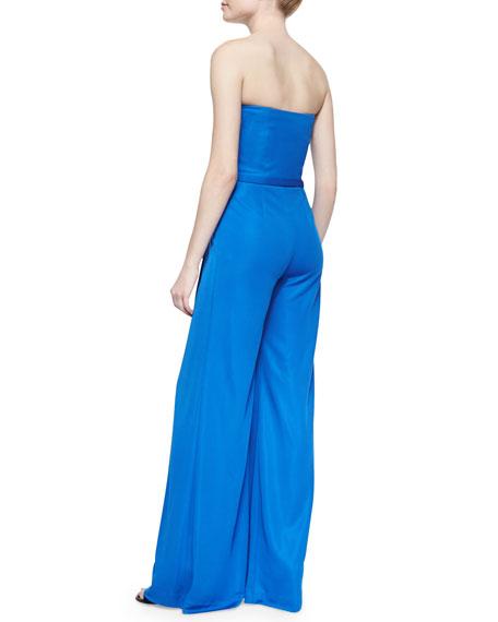 Ralph Lauren Black Label Breena Strapless Crepe Jumpsuit, Hydro Blue