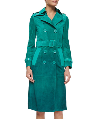 Patent-Trimmed Ombre Suede Trenchcoat