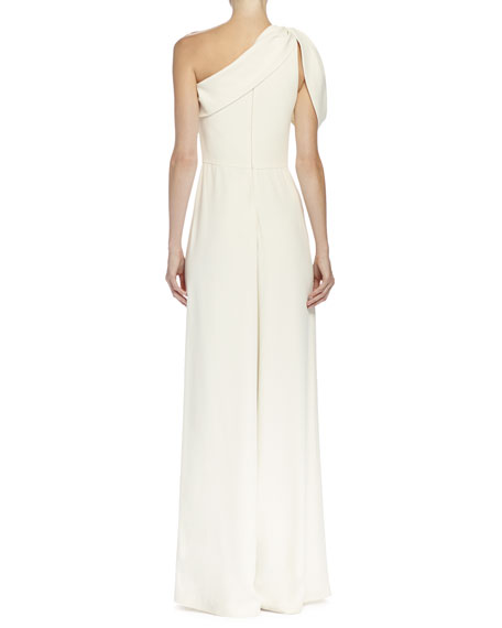 One-Shoulder Wide-Leg Jumpsuit, Bone