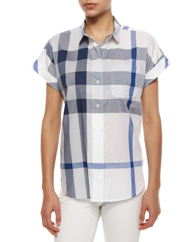Short-Sleeve Half-Button Check Shirt, Blue/White