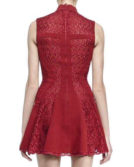 Sleeveless Mock-Neck Dress, Madder Red
