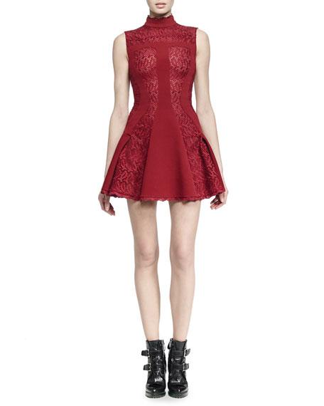 Alexander McQueen Sleeveless Mock-Neck Dress, Madder Red