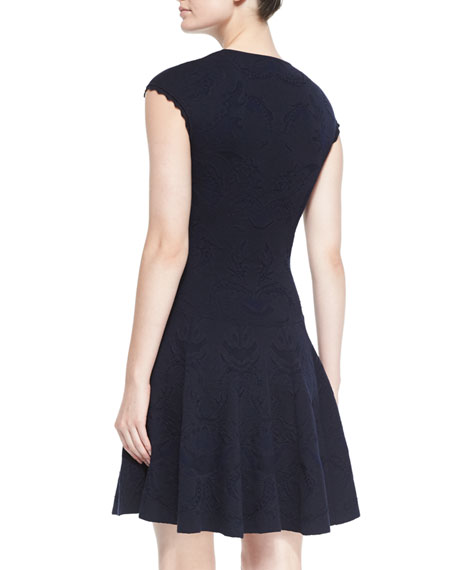 Flower Lace Jacquard Drop-Waist Dress