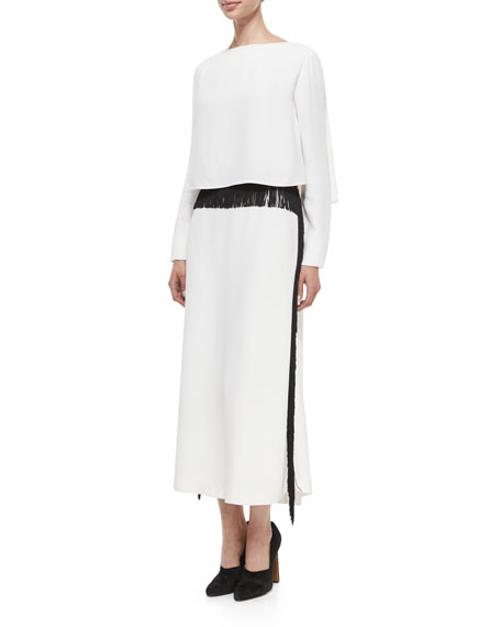 Derek Lam Long-Sleeve Column Gown w/Fringe Trim