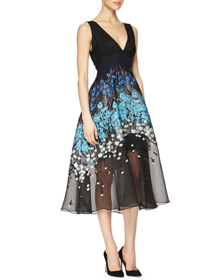 Lela RoseFloral-Embroidered Fit-And-Flare Combo Dress