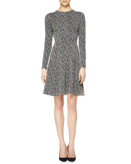 Lela Rose Lattice-Print Reversible Fit-and-Flare Dress